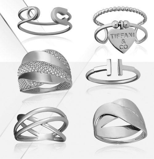 Кольца серебряные без вставок