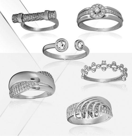 Кольца серебряные со вставками